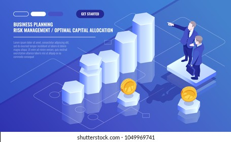 Business analytics statistics, team leader, personnel training, business planning, risk management concept, optimal capital allocation isometric vector technology