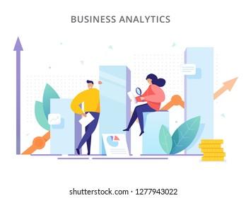 Business Analytics - Vektorgrafik. Die Leute sind in der Nähe der Grafiken und analysieren die Leistung des Unternehmens. Kreatives Strategiekonzept, erfolgreiches Ergebnis und Gewinnwachstum.