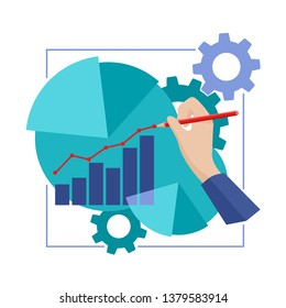 Business analytics, wealth or investiment concept - hand draws growing chart with graps, diagrams and gears around - isolated illustration