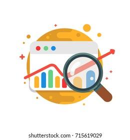 Analítica empresarial.Icono ilustrativo de diseño moderno vectorial