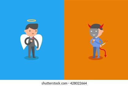 Business Angel and Devil. Business concept cartoon illustration.