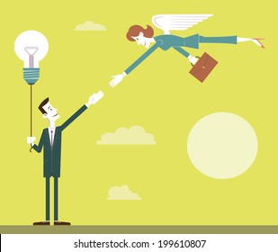 Business Angel. Man as an entrepreneur with a big idea or project receiving help from a woman as a business angel.