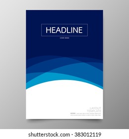Business annual report cover template design.Geometric curve blue abstract background.Layout in A4 size