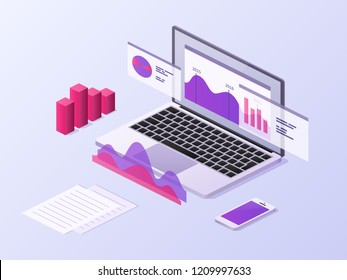 Business app isometric concept. 3d laptop and smartphone with data charts and statistics diagrams. Mobile technology vector background