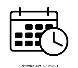 Business appointment calendar with time clock line art vector icon for scheduling apps and websites