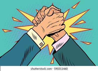 business Arm wrestling fight confrontation, pop art retro vector illustration