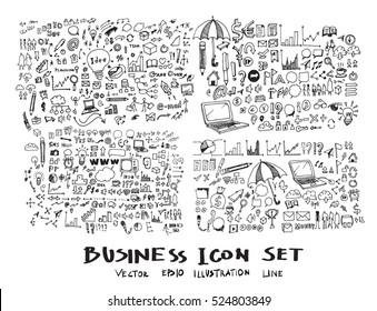 Business arrow bubble set sketch vector ink doodles