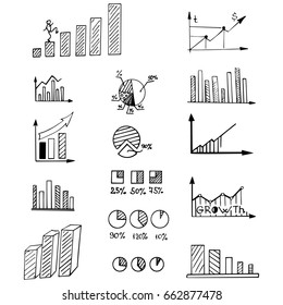 Business arrow bubble set sketch vector ink doodle.  It include icons: Graph, diagram, sector, growth, fall, approximation, statistics. Vector hand drawing illustration.