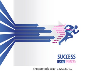 Business arrows concept with businessman running to success. acceleration for gain a profit sales. background vector illustration