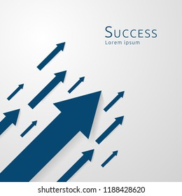 business arrows concept to success. growth chart up increase profit sales. Finance money stretching rising up. background vector illustration.