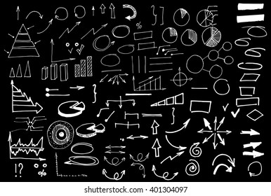 Business arrows and symbols collection. Different sketchy elements, diagrams. White on the black background.