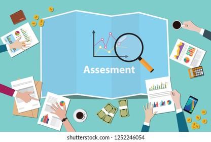 business assesment with team working together with maps and magnifying glass vector illustration