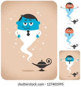 Business Assistant: Genie coming out of magic lamp. The illustration is in 4 different versions.