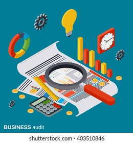Business audit, analytics, report, financial statistic flat isometric vector concept illustration