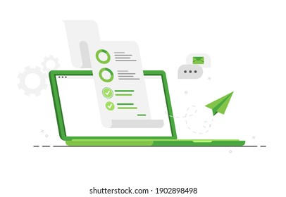 Business audit. Examination of statistical graphic information. Financial audit business concept. Income increase strategy. Notebook or laptop with accounting report. Green. Eps 10