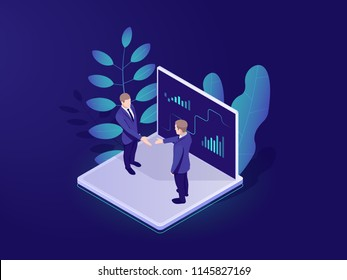 Business automated analytic system isometric icon, businessman holds a meeting, strategy formulation, chart analysis and trading, virtual graphics vector neon dark
