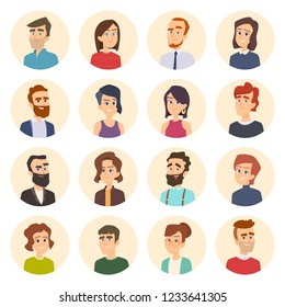Business avatars. Colored web pictures of male and females office managers vector portraits in cartoon style