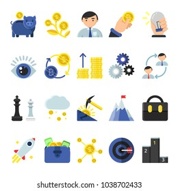Business b2b symbols in flat style. Icons of management and finances. Business money, digital exchange bitcoin and payment electronic, vector illustration