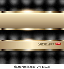 Business background beige, banners with gold metallic elements over dots pattern background, vector illustration.