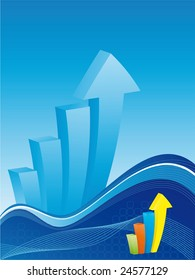 Business background - Colorful bar chart with waves and lines on blue background