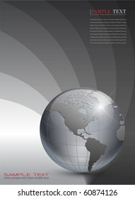 Business background dark grey with earth planet, vector