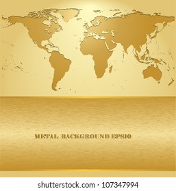 Business background gold metallic with world map