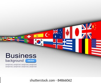Global flags images stock photos vectors shutterstock business background with international flags vector freerunsca Image collections