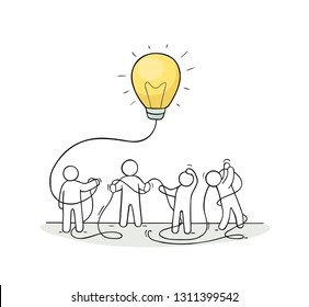 Business background with people and lamp idea. Modern vector illustration about imagination and creativity.