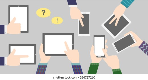 business background with phone and tablet