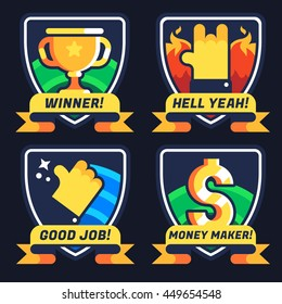 Business badges. Motivation and achievement. Winner, Hell Yeah, Good Job, Money Maker. Vector flat gamification icons.