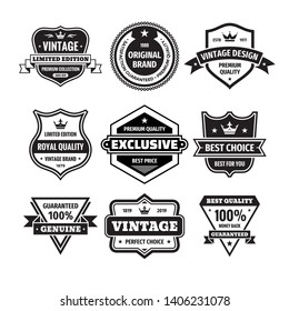 Business badges vector set in retro design style. Abstract logo. Premium quality. Satisfaction guaranteed. Vintage style. Original brand. Limited edition. Exclusive. Best price. Black & white colors.