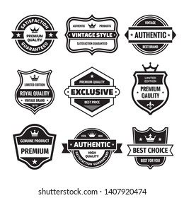 Business badges vector set in retro design style. Abstract logo. Premium quality. Satisfaction guaranteed. Best brand. Genuine product. Concept labels in black & white colors.