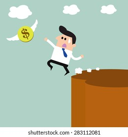 The business bankruptcy and money flying