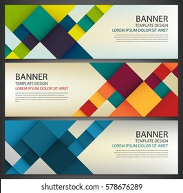 Business banner with colorful squares. Business design template. Horizontal banners. Vector illustration