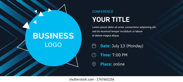 Business banner with icons on dark background. Abstract poster vector template e-mail, party, workshop, event, webinar, conference