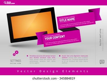 Business banner with modern display. Vector design elements for presentations, flyers, brochures, websites.