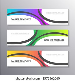 Business Banner template with colorful wavy background, Layout Background Design, Corporate Geometric web header or footer in gradient Vector
