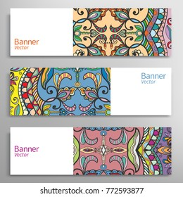 Business banners with colorful ornament, isolated elements. Horizontal template layout for website design. Stylized floral background. Abstract doodle header with place for the text