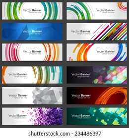 Business Banners set for website abstract modern background design. Geometric and blurred lights effect background.