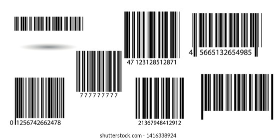 Business barcodes and QR codes vector set. Black striped code for digital identification. Barcode label set vector. Vector icon.