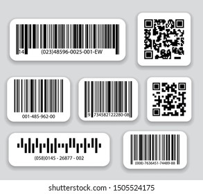 Business barcodes and QR codes vector set. Black striped code for digital identification, Realistic bar code icon.