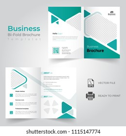 business bi fold brochure or magazine cover design vector template