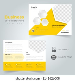 Business bi fold brochure or magazine cover design vector template.Eps 10