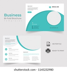 Business bi fold brochure or magazine cover design vector template.Eps 10