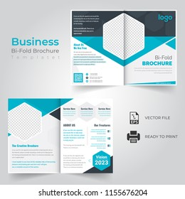 business bi fold brochure or magazine cover design vector template