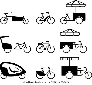 Business Bicycle Icon Set Outline Flat Design Black White Vector Grafic