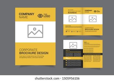Business Bi-fold Brochure Design Template vector or magazine cover design and Brochure Cover Design.