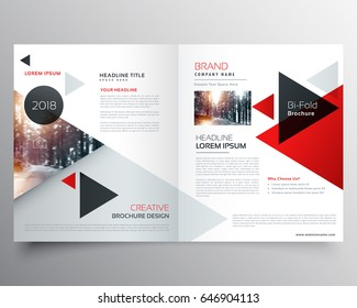 business bifold brochure or magazine cover design template with geometric triangle pattern