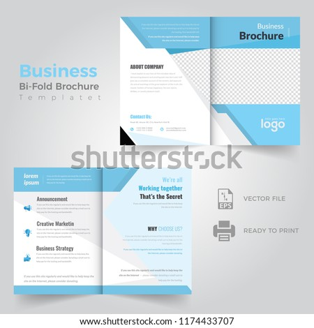 Business Bifold Brochure Template Magazine Cover Stock Vector