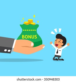 Business big hand giving bonus money to businessman